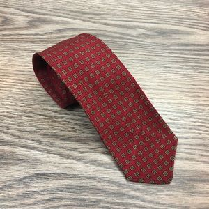 Saks Fifth Avenue Red w/ Olive & Blue Check Tie